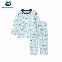 迷你巴拉巴拉男童宝宝印花内衣两件套儿童秋冬新款幼童保暖套装