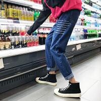新款2018秋冬男士休闲牛仔裤青少年韩版字母刺绣牛仔长裤裤子