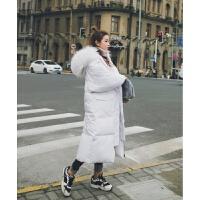 女装羽绒女长款过膝大毛领宽松大码加厚面包服棉袄 白色