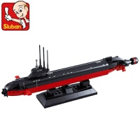 快乐小鲁班海军核潜艇拼插拼装积木1350军事模型儿童教育玩具儿童节礼物