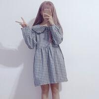 娃娃领长袖宽松时尚个性学院风新款春季格子系带中长款连衣裙