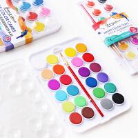 固体水彩颜料套装水粉饼 多色可水洗儿童初学者手绘水彩画笔套装