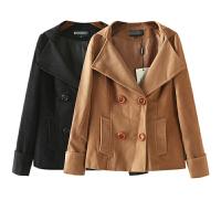冬装外套女装潮 经典纯色双排扣西装领长袖毛呢外套女