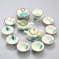 景德镇手绘功夫茶具套装陶瓷居家家用茶杯茶壶荷花整套青花瓷茶具工艺品