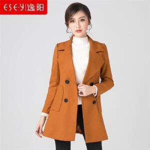 逸阳女装2018新款秋冬中长款外套风衣羊毛呢子大衣修身显瘦女