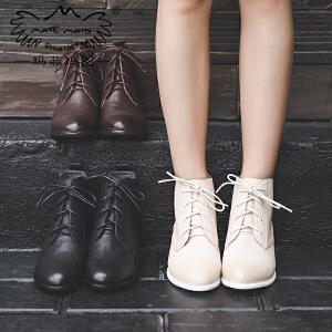 玛菲玛图短靴女粗跟秋季2018新款羊皮马丁靴女休闲中跟单靴帅气系带机车靴6115-3
