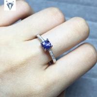 925纯银镶嵌天然枕形方坦桑石戒指指环活口 时尚女款首饰送女友