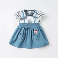 戴维贝拉女童连衣裙2021夏装新款小童纯棉公主裙儿童裙子假两件
