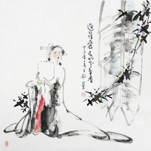 王铭 迟日佳人丽春风也多香 甲午年之夏 王铭画 68.68cm