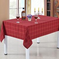 美式餐桌布布艺田园家居西餐酒红棉麻格子长方形台布防水茶几桌布