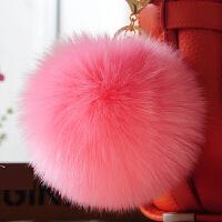 仿狐狸毛挂件皮草包包挂件毛绒钥匙扣挂饰毛毛球挂件情人节礼物