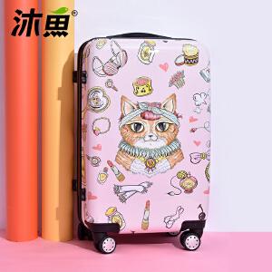 沐鱼 新款卡通万向轮拉杆箱新款密码登机箱学生硬行李箱女20/24寸 化妆猫粉