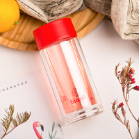 Bianli鲤集 便携迷你女士双层玻璃杯耐热高硼硅水杯150ML B34960