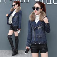 加绒牛仔外套女短款2018冬季韩版百搭小棉袄冬天加厚棉衣
