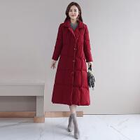 2018冬装韩版修身羽绒棉衣女长款过膝显瘦a字棉袄子外套