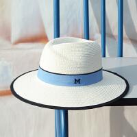 呛口小辣椒夏天帽子女礼帽M标女士草帽沙滩帽太阳帽防晒遮阳帽潮 白色 (蓝色帽带) 可调节
