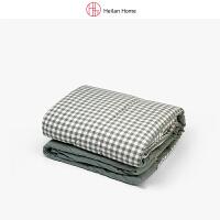深绿格纹水洗棉被子150×200cm Heilan Home/海澜优选生活馆