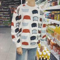 新款秋冬卡通印花套头卫衣男圆领套头宽松长袖上衣服青少年韩版潮