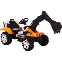 儿童挖掘机玩具车遥控推挖土机可坐可骑全电动大号男孩勾机工程车 黄色 7A电瓶 双驱带遥控 电动挖臂+推臂 超大号 电动