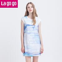Lagogo夏季运动休闲印花修身针织拼接无袖裙子中长款清新连衣裙女