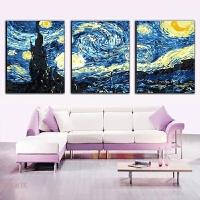 数字油画客厅装饰画 卧室风景人物动物三联三拼大幅手绘填色画