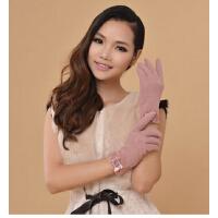 秋冬新款女士蕾丝袖口触摸屏手套 保暖时尚羊毛分指手套
