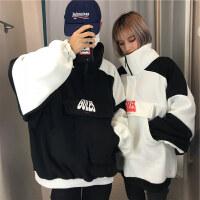 韩国INS同款复古拼色大口袋高领加绒卫衣 17FW男女款