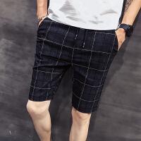 夏季潮男短裤子小码26 27码韩版修身格子休闲裤学生潮流5五分裤土
