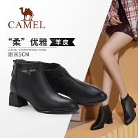 骆驼女鞋 2019冬季新款中跟圆头时尚真皮短筒女靴网红短靴瘦瘦靴
