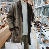 潮牌冬新款宽松加绒加厚羊羔毛大衣韩版廓形毛边中长款风衣外套男