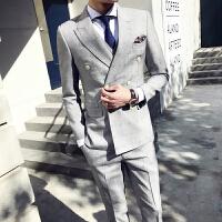 春装男士潮流千鸟格双排扣西服套装韩版英伦修身青年高质三件套