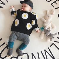 春儿童装毛衣个性男女宝宝可爱针织双层婴儿毛线衣套头衫