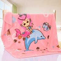 婴儿毛毯新生儿秋冬法兰绒毯儿童盖毯幼儿园双层加厚云毯被子 粉色美人鱼 110×140cm 2.4斤 婴儿质检
