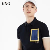 GXGPOLO衫男装 夏季男士青年时尚流行修身藏青色休闲短袖POLO衫