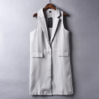 新款女装韩版百搭纯色单粒扣中长款无袖外套05-1