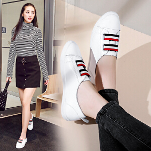 ZHR2017秋季新款小白鞋女鞋韩版百搭平底单鞋真皮街拍休闲鞋板鞋A23