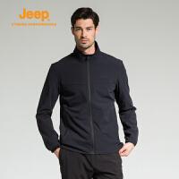 【特惠价】Jeep/吉普 男士户外开衫单穿休闲运动软夹克冲锋衣J732095002