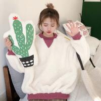 秋冬女装韩版学生宽松2017新款长袖套头ulzzang卫衣外套小清新潮