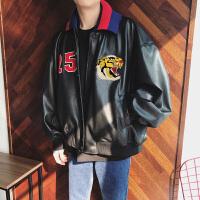 韩版青年机车皮衣男士个性头刺绣飞行夹克秋季新款宽松男外套潮