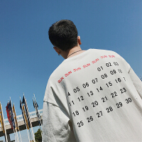 夏季新品下摆开衩字母印花短袖t恤男韩版青年圆领宽松五分袖体恤
