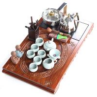 花梨木整块功夫茶具套装四合一实木茶盘茶海茶道紫砂喝茶汝窑组合