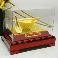 绒沙金金箔定制工艺品摆件金饭碗结婚礼物创意商务礼品新婚礼物实用金碗筷