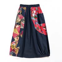 春夏季民族风品牌女装文艺复古一步裙中腰松紧腰棉麻半身裙子