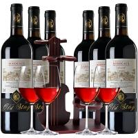 法国AOC红酒 原瓶原装进口 波尔多产区贝德干红葡萄酒 750ml*6支 红酒整箱+提琴酒架+4个酒杯