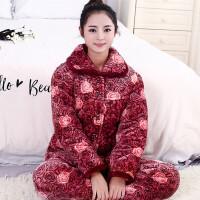 睡衣女冬季中老年女三层加厚夹棉睡衣妈妈珊瑚绒法兰绒家居服套装