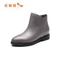红蜻蜓秋冬季女靴短靴女新款粗跟靴子尖头百搭踝靴内增高鞋