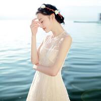 20180402210338620夏季新品女装文艺复古刺绣蕾丝连衣裙波西米亚长裙海边度假沙滩裙 白色 XZD104