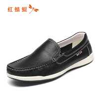 红蜻蜓时尚豆豆鞋潮一脚蹬懒人鞋男士休闲皮鞋透气鞋子