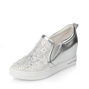 Tata/他她2017年春季牛皮蕾丝网布女休闲鞋2NZ71AM7春季新款小白鞋运动鞋女小白鞋女女乐福鞋 他她女鞋 春