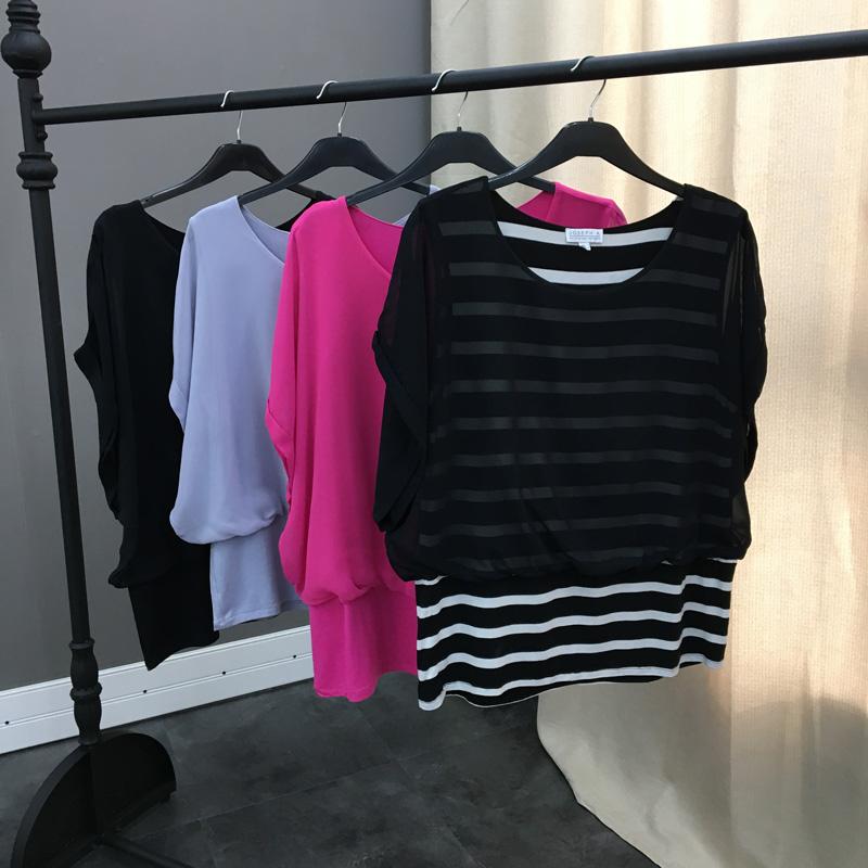 原单大码女装欧美风宽松蝙蝠袖雪纺衫胖MM假两件莫代尔T恤女 一般在付款后3-90天左右发货,具体发货时间请以与客服协商的时间为准